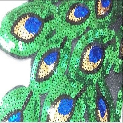 High Quality Colorful Sequin Peacock Embroidery Fabric Large Applique Patch