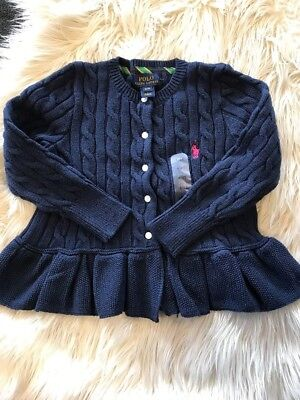 Navy Blue Girl Ralph Lauren Knit Cardigan Size 4T