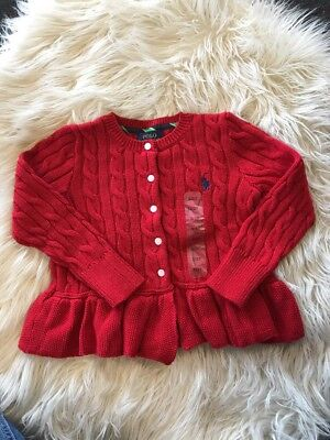 Red Girl Ralph Lauren Knit Cardigan Size 3T