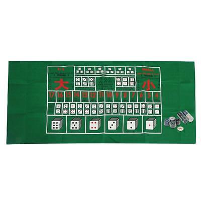 100pcs Plastic Poker Chip w/ Poker Table Layout Mat Felt for Party Home Game