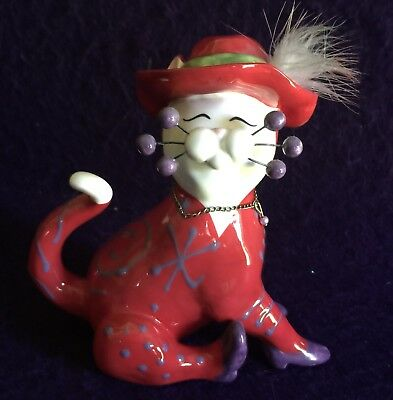 "2004 Amy Lacombe Annaco Creations Whimsiclay Cat #13011 ""TERESA"" Red Hat Glam"