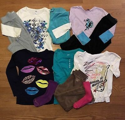 Girl's Size 6 7-8 Lot 10 Mix Match Pants And Top Outfits Disney Children's Place