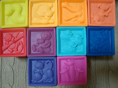 B.YOU~Battat~ONE TWO SOFT SQUEEZE BLOCKS~EMBOSSED STACKABLE Rubber Toys Baby