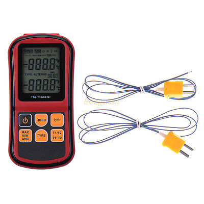 Digital Thermometer Dual Channel Input Thermocouple K J T E R S N C/F Type