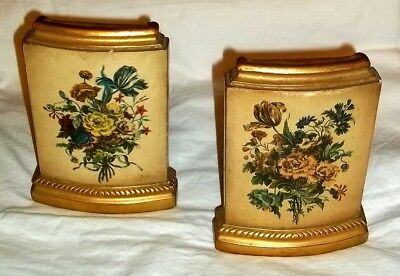 Pair BORGHESE ~ FRENCH PROVINCIAL Manner GOLD GILT FLORAL CAST PLASTER BOOKENDS