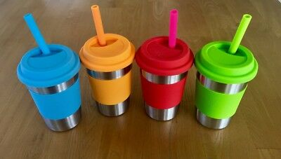 Eco Friendly Stainless Steel Reusable Smoothie/Juice Keep Cup - with Straw kit