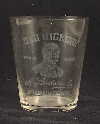 Antique Old Hickory Whiskey Pre-Prohibition Etched Shot Glass