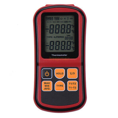 Digital Thermocouple Thermometer Dual-channel LCD Temperature K/J/T Meter Tester