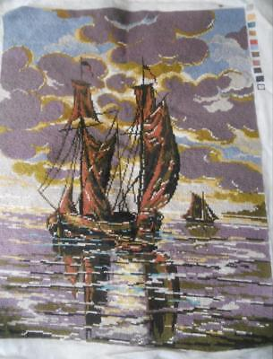 Vintage Completed Tapestry Sailing Ship Suit Cushion Frame Craft Upcycle