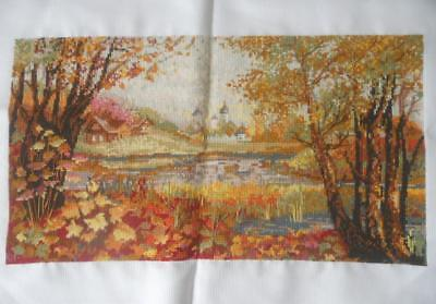 Vintage Completed X Stitch Tapestry Finely Worked Cottage By Lake Autumn Scene