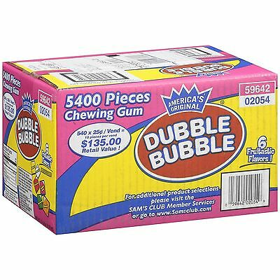 Dubble Bubble 5400 Pieces Tab Chewing Gum Chicles 6 Flavors Bulk Candy Bubblegum