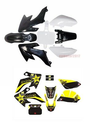 Honda CRF50 PLASTICS + ROCKSTAR STICKERS KIT PIT DIRT BIKE 110cc 125cc SSR SDG
