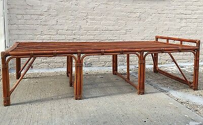 """Antique Bamboo Opium Bed Sofa Daybed  Chaise Handmade Rattan BentWood 30""""x75"""""""