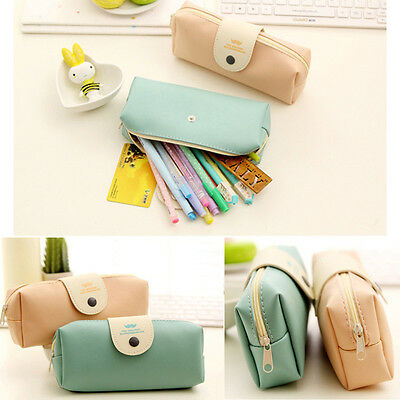 Women Lady Girl PU Pen Pencil Case Cosmetic Travel Makeup Stationery Storage Bag