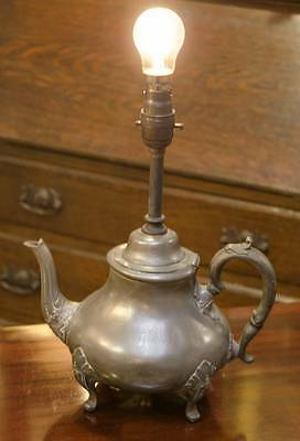 ANTIQUE PEWTER TEAPOT Feature LAMP