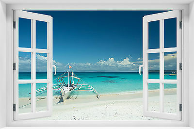 3d wandbild fototapete fensterblick meer strand kleister gratis p 3 eur 19 90 picclick de. Black Bedroom Furniture Sets. Home Design Ideas