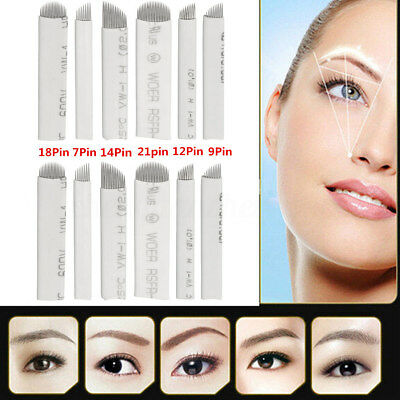 50X Microblading Needles -Tattoo Permanent Makeup Manual Eyebrow Blade 7-21 Pins