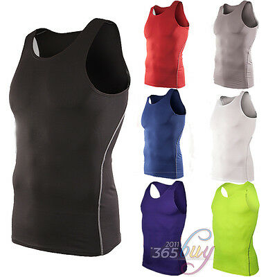 Mens Compression Under Skin Base Layers Singlet Sleeveless Vest Tank Tops Shirts