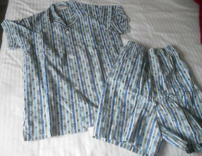 Vintage 1960'S Peter Andrews Mens Cotton Shortie Pyjamas Ships On Blue 34 Inch S