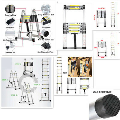 2.6/2.9/3.2/3.8/5M Aluminium Foldable Telescopic DIY Ladder Extension Extendable