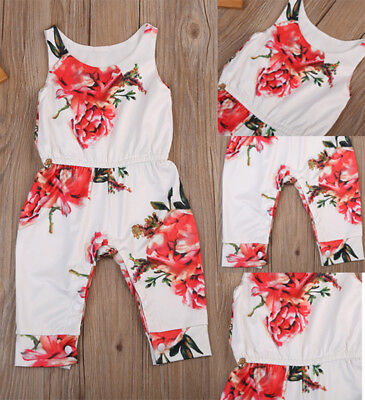 US Stock Baby Girls Floral Sleeveless Romper Clothes Jumpsuit Bodysuit Outfits