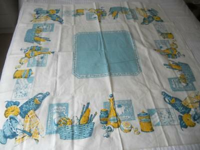 Unused Vintage 1960S Rayon Table Cloth Blue Yellow Print Food And Wine