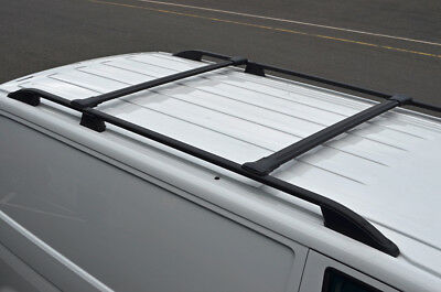 Black Cross Bar Rail Set To Fit Roof Side Bars To Fit Volkswagen Caddy (04-15)