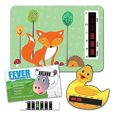 Nursery Room Thermometer, Duck Bath Thermometer & Baby Forehead Thermometer Pack