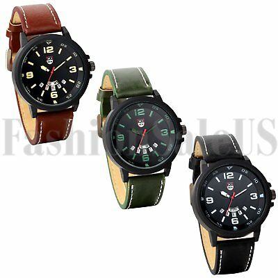 Men's Round Digital Dial Army Infantry Leather Band Sports Analog Quartz Watch
