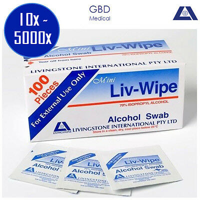 10~5000x 70% ISOPROPYL ALCOHOL WIPE SWABS WIPES SKIN CLEANSING MEDICAL GRADE