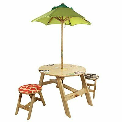 Fantasy Fields - Sunny Safari Animals Thematic Kids Wooden Outdoor Table and 2