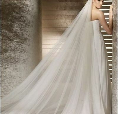 2 Tiers Cathedral bridal veil with Soft Illusion Tulle for wedding with Comb USA