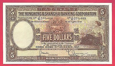 Hong Kong 1957 The Hong Kong & Shanghai Banking Corporation 5 Dollars P-180a