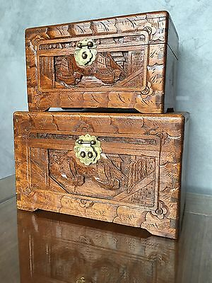 *Mid Century 2 Funky Matching Wooden Asian Jewellery Boxes/Storage 1960's Retro