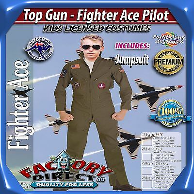 NEW! High Quality Boys Kids Top Gun - Fighter Ace Pilot Dress Up Costume Outfit!