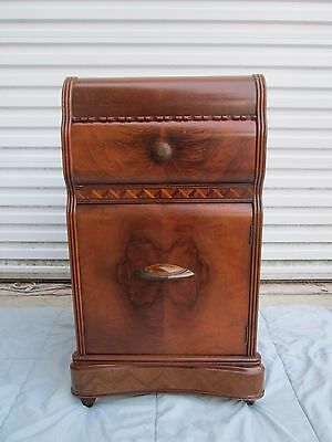 1930`S 40`s BEAUTIFUL ART DECO WATERFALL NIGHTSTAND END TABLE w/CABINET & DRAWER