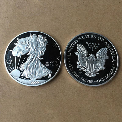 USA Silver Color Dollar Eagle Pattern Coins Museum Home Coin Collection/Display