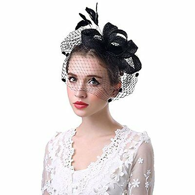 Meryadress Dotveil Party Kentucky Derby Fascinator Hat Feather Prom Cocktail NEW