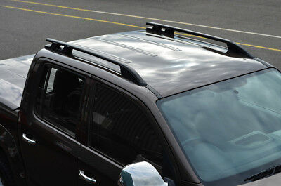 Black Aluminium Roof Rack Rails Side Bars Set To Fit Volkswagen Amarok (2010+)