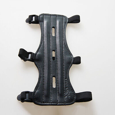 3 Strap PU Leather Shooting Archery Arm Guard Protection Safe Guard Black 1×
