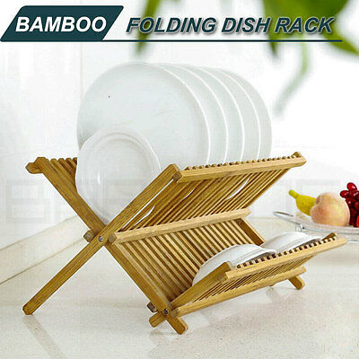 Bamboo Foldable Portable Drying Dish Rack Drainer Plate Bowl Holder Storage M