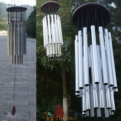 Wind Chime Living Windchime 27 Metal Tubes Wood Garden Home Decoration Gift UK