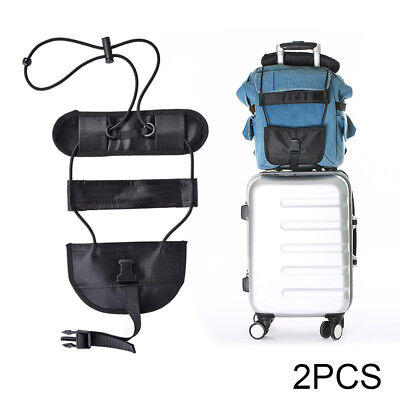 2x Add A Bag Strap Travel Luggage Suitcase Adjustable Belt Carry On Bungee HS987