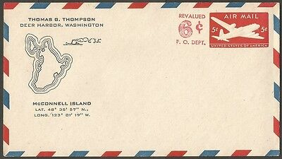 US AIR MAIL COVER EMBOSSED 5C REVALUED 6C DEER HARBOR WA McCONNELL ISLAND