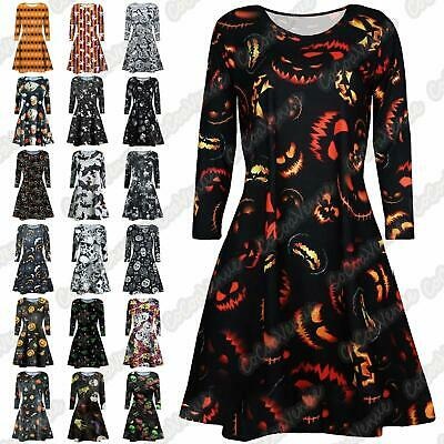 New Ladies Pumpkin Skulls Halloween Printed Long Sleeve Flared Smock Swing Dress
