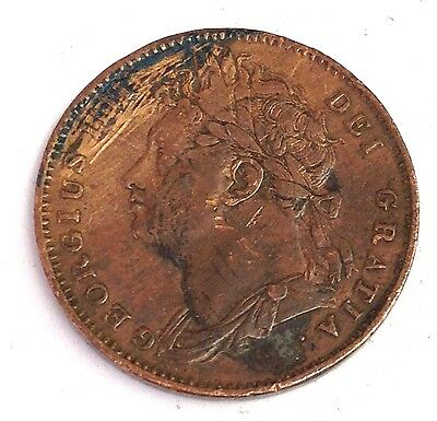 1823 Great Britain Farthing, King George IV, very old UK coin