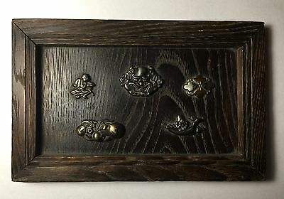 Japanese Antique Edo Period Collection of 5 Menuki Mounted on Wood No Reserve