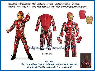 Disney Store Iron Man Costume for Kids Captain America: Lights Up Size 7-8 New!
