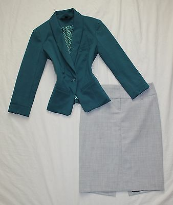 EXPRESS Size 0 Women's Skirt Suit Gray Teal BEAUTIFUL!
