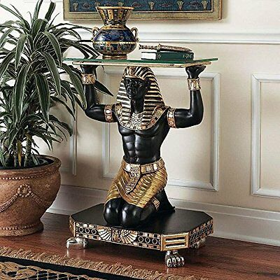 NE8672 - Egyptian Servant to the Pharaoh Glass -Topped Console Table - New!